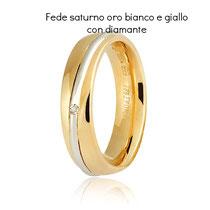Fedi Nuziali  Unoaerre modello Saturno Oro giallo e bianco con diamante Collezione 9.0 referenza 050AFC053-0010