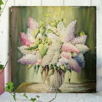 Gemälde Guache Blumen Stilleben Flieder um 1930