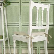 Stuhl mit Leinenpolster antik 1910
