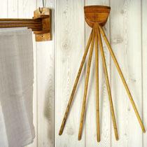 Vintage Handtuchstange aus Holz