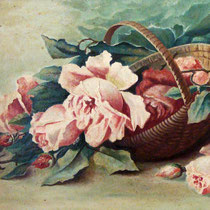 Antikes Ölgemälde auf Leinwand Stilleben Rosen im Korb um 1900