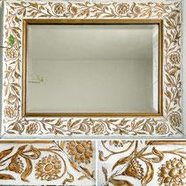 Antiker Art Nouveau Kristallspiegel im Jugendstil Rahmen