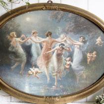 Antikes Schlafzimmer- Bild Druck Elfenreigen 1915