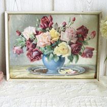 Blumendruck Stilleben Rosen 1920