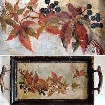 Antikes Tablett handcoloriert: Weinlaub um 1890