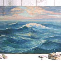 "Antikes Bild Ölgemäde auf Leinwand ""Meer"""