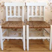 Bauernstühle Worpsweder Stuhl- Paar mit Binsengeflecht um 1910