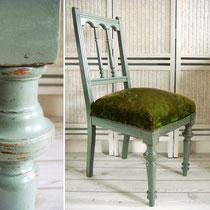 Antiker Stuhl 1890 mit Samtpolster
