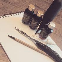 Diamine Shimmerink und Kalligraphiefeder