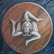 Das Wappen von Sizilien -symbolisiert die Sonne und die Grundform der Insel mit den drei Ecken Siziliens.