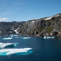 Prins-Christian-Sund - Durchfahrener selten möglich wegen der Eisberge im Sund