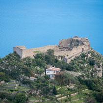 Taormina - Blick von Castelmola auf die Festung von Taormina.