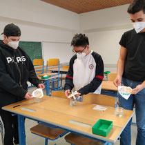 Schüler bei einem Chromatographie-Experiment