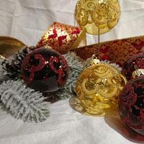 グラスボール ボルドー 6個セット ウクライナ産  ¥5,400-