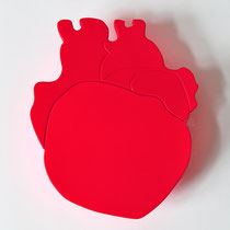 YOU ARE BEAUTIFUL <  MURAL HEART-SHAPED MIROR - orange fluo