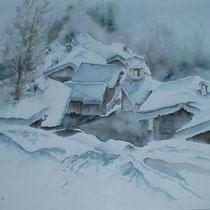 """ART HFrei - """"Winter in Graubünden"""" - Aquarell - 2002"""