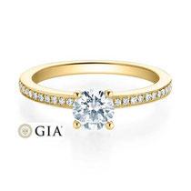 Gelbgold Damenring mit Diamanten