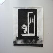 DE L'AUTRE CÔTÉ # 8 - Encre de Chine, peinture aérosol, graphite sur papier (160g) - 150 x 200 cm - 2016 - © Sébastien Veniat