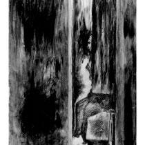 BORNE #4 - Estampe numérique (taille-douce à l'encre noire, numérisation et impression laser sur papier (120g)  - 118,9 x 84,1 cm - 2021