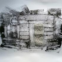 Quand les portes ne parlent plus # 9 - Monotype à l'encre noire taille-douce, gesso et ciment sur papier (200g) - 50 x 65 cm - 2020