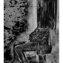 BORNE #2 - Estampe numérique (taille-douce à l'encre noire, numérisation et impression laser sur papier (120g)  - 118,9 x 84,1 cm - 2020 - Tirage limité à 30 exemplaires