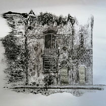 Quand les portes ne parlent plus # 6 - Monotype à l'encre noire taille-douce, gesso et ciment sur papier (200g) - 50 x 65 cm - 2020