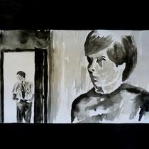 1'08'53 - Encre de Chine, lavis sur papier (200g) - 50 x 65 cm - 2019