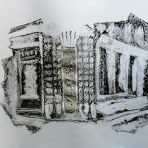 Quand les portes ne parlent plus # 3 - Monotype à l'encre noire taille-douce, gesso et ciment sur papier (200g) - 50 x 65 cm - 2020