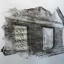 Quand les portes ne parlent plus # 2 - Monotype à l'encre noire taille-douce, gesso et ciment sur papier (200g) - 50 x 65 cm - 2020