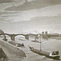 Blick von der rechten Rheinseite über über die Hafeneinfahrt des Nordhafen auf die 1. Rheinbrücke. Im Hintergrund am Horizont erkennbar die Hüttenwerke Krupp-Rheinhausen. Quelle: Stadtarchiv Duisburg