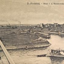 Blick von der Brücke auf den Kultushafen. Ausbauarbeiten an der südlichen Kaimauer. Quelle: Stadtarchiv