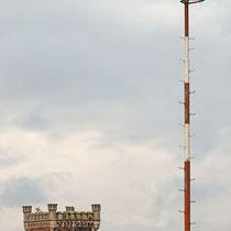 Aufsitzender Kormoran auf Lampenmast, im Hintergrund der linksrheinische, historische Brückenturm,  Aufnahme-Datum: 27.09.2019