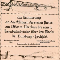 Gedenkblatt an das Schlagen des 1. Nietes 26.06.1926, Quelle: Stadtarchiv Duisburg