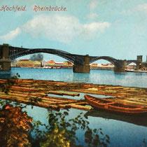 Ansichtskarte. Blick vom linken Rheinufer in Richtung Hochfeld. Größere Floßeinheit.