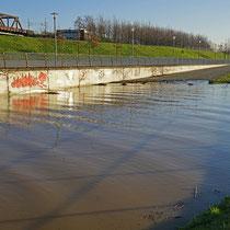 Rheinpark Rampe, Blick in östliche Richtung, Überschwemmung bis zur Hälfte der Rampe, Ablagerung von Schwemmgut.