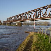 Mündungsbereich Kultushafen zum Rhein, Ecke Rheinpark, die untere Promenade einschließlich Geländer ist total überschwemmt.