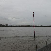 Überflutete untere Promenade, Pegelstand Ruhrort 8,73 Meter, Aufnahme-Datum: 05.01.2018