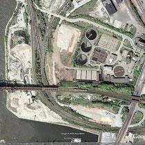 Quelle: Google Earth. Das Luftbild zeigt die Nutzung des Geländes einer Reclingfirma vom Kultushafen bis zum Nordhafen.