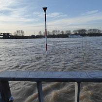 Überflutete Uferpromenade mit Blick auf die überflutete Rheinaue Rheinhausen, Aufnahmedatum 08.01.2018, Heike Marianne Liwa