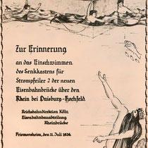 Gedenkblatt an das Einschwimmen des Senkkasten am 11. Juli 1926, Quelle: Stadtarchiv Duisburg