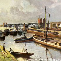 Blick über den Kultushafen. Schiffe mit Lastkähnen , Hafenanlagen für die Kohleverladung. Ansichtskarte aus Sammlung Weber.