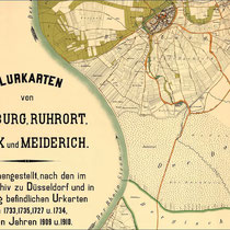 Flurkarten von  Duisburg, Ruhrort, Beeck und Meiderich von 1727-1735