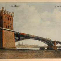 Ansichtskarte. Blick von der linken Rheinseite aus dem Bereich des ehemaligen Trajekthafens in Richtung Hochfeld Niederrheinische Hütte.