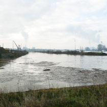 Blick in den Südhafen mit Mole, im Vordergrund in den Kultushafen eintreibendes Schwemmgut.