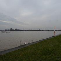 Blick über den Rhein in südwestliche Richtung, die Mole des Südhafen ist total überschwemmt, Aufnahmedatum 09.01.2018, Heike Marianne Liwa