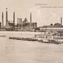 Ansichtskarte, Raddampfer mit Lastkähnen vor der Niederrheinischen Hütte in Duisburg-Hochfeld.