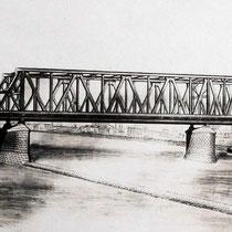Modell der zweiten Eisenbahnbrücke. Quelle: Stadtarchiv Duisburg