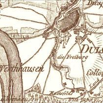 Ausschnitt aus der Karte des Rheins von Wesel bis Duisburg von Le Coq 1812