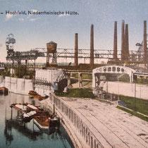 Ansichtskarte, Blick von der Eisenbahnbrücke in den Nordhafen und das Firmengelände der Niederrheinischen Hütte in Duisburg-Hochfeld.