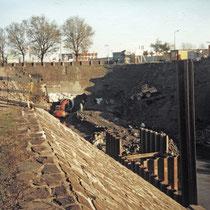 Hafenrückbau, Kanalrohrverlegung für die Verlängerung des Dickelsbach-Kanal, Aufnahme-Datum: 1988